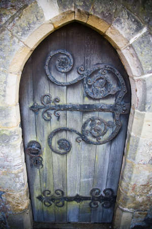 A traditional church door, Sussex, England, UK  photo