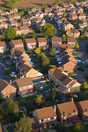 Aerial view of British red brick houses in a modern estate