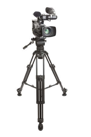 television camera: Digital HD Television Camera and Tripod isolated on a white background  Stock Photo