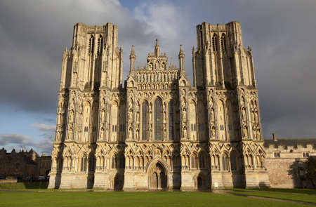 wells: The West Front of Wells Cathedral in Wells, Somerset, UK  Stock Photo