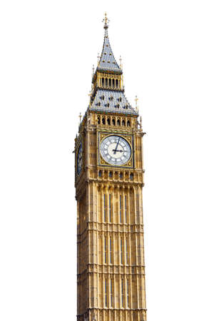 Big Ben in Westminster, London, cut out with a white background