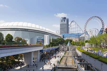 General view of Tokyo Dome City, an entertainment district in Tokyo on 27th May 2012  The attractions include the Tokyo dome, an all weather multi-purpose sports stadium, amusements including a rollercoaster, LaQua hot spa complex, restaurants and shops