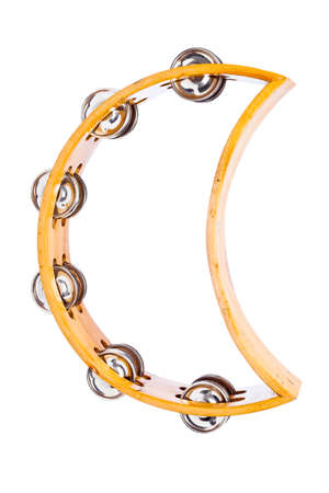 Wooden Tambourine Isolated on a White Background photo