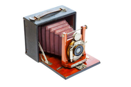 Antique view Camera with leather bellows isolated on a white background photo