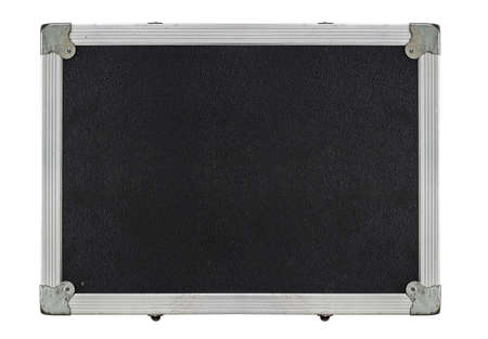 Top view of a black flight case with metallic edges against a white background