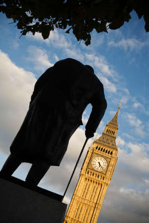 winston: Silhouette of the Winston Churchill statue in Parliament square, Westminster with Big Ben in the background