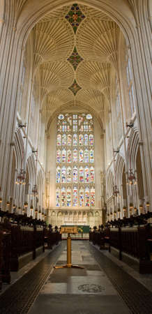 East Window in Bath Abbey, viewed from the Choir. Bath, Somerset, UK.