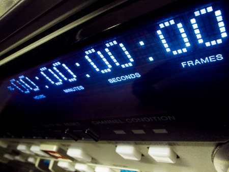 vcr: close-up of the digital timecode readout on a DV Cam VCR machine
