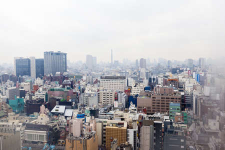 Tokyo, Japan - March 2, 2012: Elevated view of the Tokyo skyline taken through the window of a Shinjuku hotel room on an overcast day. White vignette created in-camera by wiping the centre of the misted window. Stock Photo - 18614600