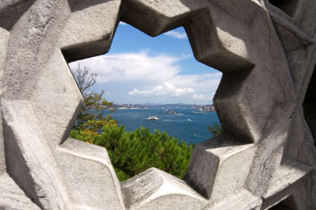 topkapi: Bosphorus River in Istanbul viewed through a star shaped opening in the walls of the Topkapi Palace