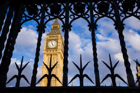 Big Ben seen through the ornate metal security gates, Westminster, UK photo