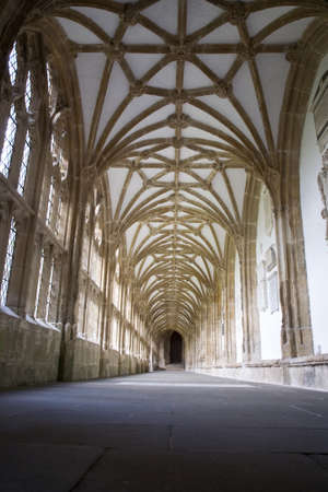 Low, wide angle view of the cloisters at Wells Cathedral in Wells, Somerset, UK