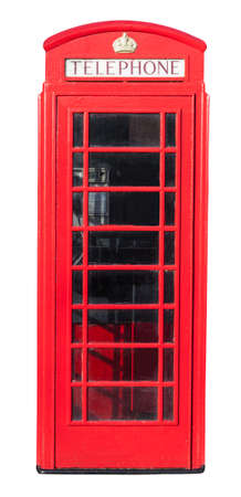Red telephone box isolated on white with a clipping path photo