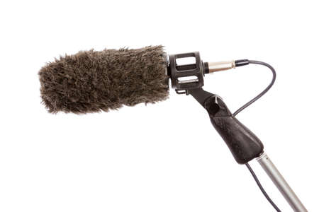 Close-up of a fluffy windshield on a boom microphone  Banque d'images