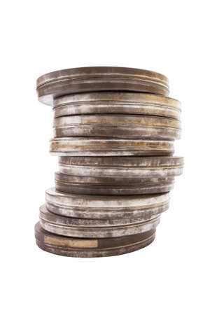 35mm: A Stack of Old Metal Film Canisters  Isolated on White with a Clipping Path