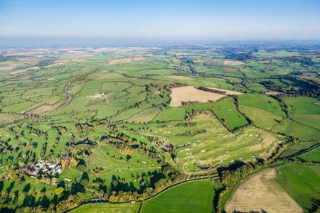 angle views: Aerial view of beautiful green countryside in Somerset, UK