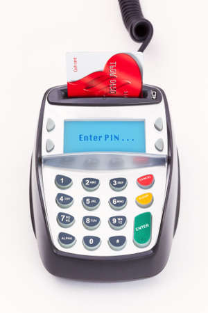 chip and pin: Bank card in a chip and PIN machine