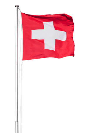 Swiss flag flying on a metal pole, isolated on a white