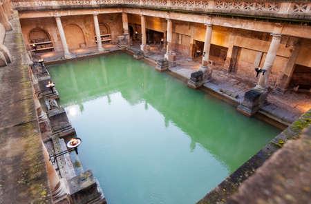 The Great Bath, part of the Roman Baths in Bath, UK