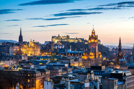 Skyline of Edinburgh at sunset with HDR processing  Cityscape