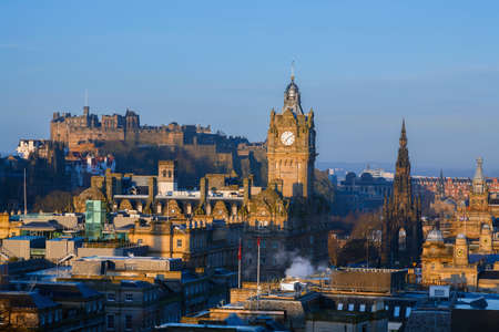 Skyline of Edinburgh at sunrise  photo