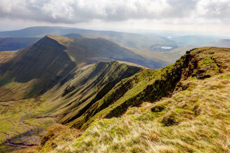 View of the Brecon Beacons National Park from the peak of Pen Y Fan Stock Photo