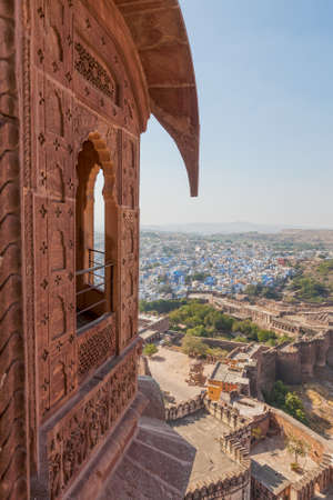 hilltop: View of the city of Jodhpur from the hilltop Mehrangarh Fort. Stock Photo
