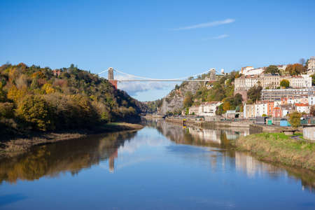 Wide view of Clifton Suspension Bridge which spans the Avon Gorge in Bristol, England, UK