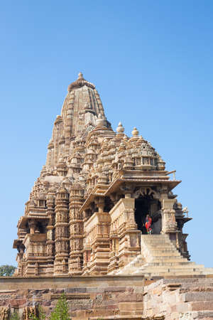 Kandariya Mahadeva Temple, located within the Western Group of temples at Khajuraho in Madhya Pradesh, India. Stok Fotoğraf