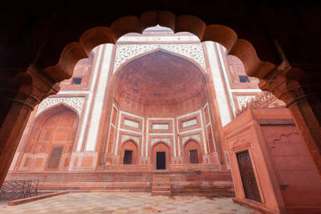 cusp: The Great Gate at the Taj Mahal complex in Agra, India. Editorial
