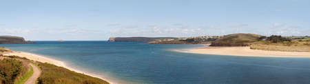 estuary: Panoramic view of the Camel Estuary in Cornwall, United Kingdom Stock Photo