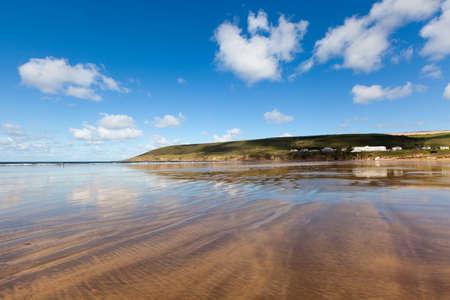 Vast stretch of sandy beach at Saunton Sands in North Devon, England, UK. Stock Photo