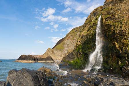 Waterfall at Tresaith Beach, Cardigan Bay, Wales.