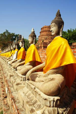 Buddha images at Wat Yai Chai Mongkol Ayuthaya Historical Park, Ayuthaya, Thailand, Southeast Asia.