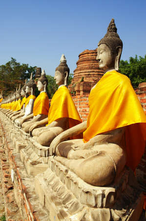 thai temple: Buddha images at Wat Yai Chai Mongkol Ayuthaya Historical Park, Ayuthaya, Thailand, Southeast Asia.
