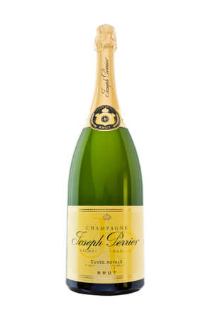 magnum: Unopened Magnum of Joseph Perrier Champagne isolated against white.