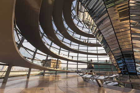 dome: BERLIN, GERMANY - NOVEMBER 1, 2015: Wide angle view inside the glass dome on top of the Reichstag building.