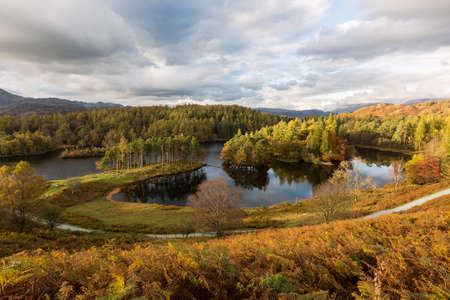 Autumnal View of Tarn Hows in the Lake District, England Stock Photo