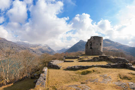 Dolbadarn Castle, a thirteenth century fortification at the base of Llanberis Pass in North Wales, United Kingdom Stock Photo