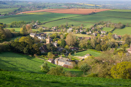 High view of Corton Denham, a traditional village in Somerset, England, UK Reklamní fotografie