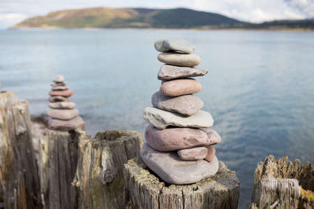 groynes: Pebble Towers Built on Wooden Posts on Porlock Beach, England