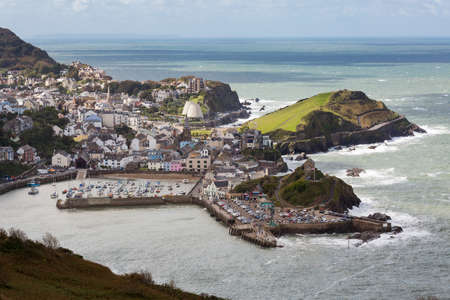 Seaside town of Ilfracombe in North Devon, England. Viewed from high cliffs on the South West coast path.