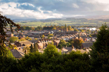 High view of the skyline at Penrith in Cubria, England at sunset. Archivio Fotografico