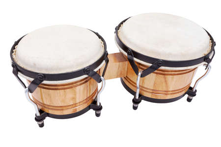 A set of wooden bongos isolated on a white background Foto de archivo