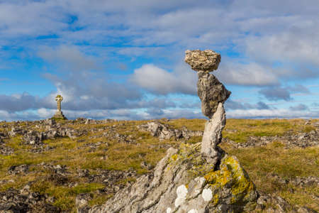 Limestone Rocks Carefully Balanced on Top of Beacon Hill near Orton in Cumbria, England, UK.