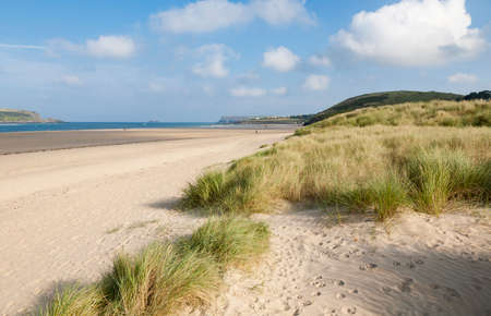 Sand Dunes at Daymer Bay on the Camel Estuary, Cornwall, England. Stock Photo