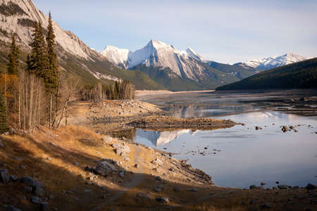 Medicine Lake in Jasper National Park, Canada, The water level dramatically lowers in the winter due to sink holes.