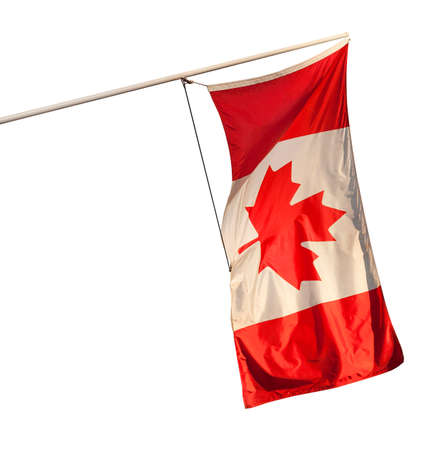 Canadian flag flying from an angled wall-mounted pole, isolated on a white backfround.