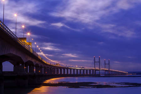 Night view of the Severn bridge which spans from England to Wales in the British Isles