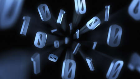 3D Digital Concept Showing Binary Numbers Exploding Out Towards the Camera With Motion Blur Trails Stok Fotoğraf - 101285972